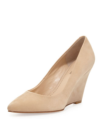 Maia Nubuck Wedge Pump, Beige