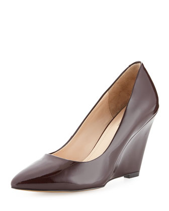 Milla Patent Wedge Pump, Burgundy