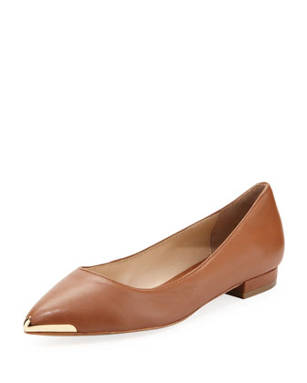 Renna Metal-Tip Leather Flat, Cognac