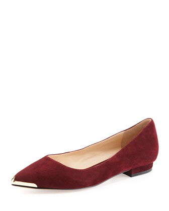Renna Metal-Tip Leather Flat, Wine