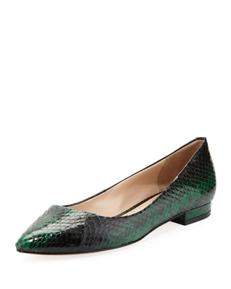 Riva Point-Toe Snakeskin Flat, Emerald