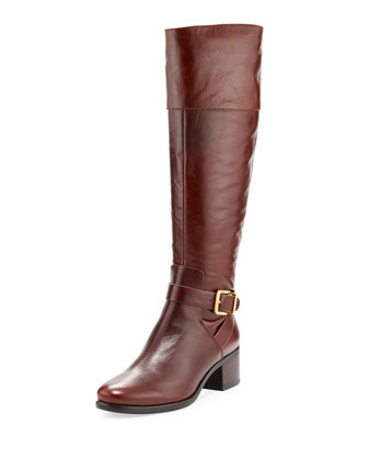 Shae Leather Knee Boot, Cognac