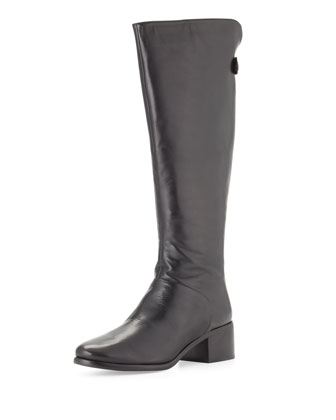 Silvianne Leather Knee Boot, Black