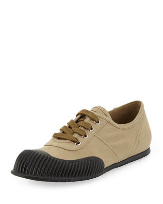 Gabardine Lace-Up Sneaker, Brown