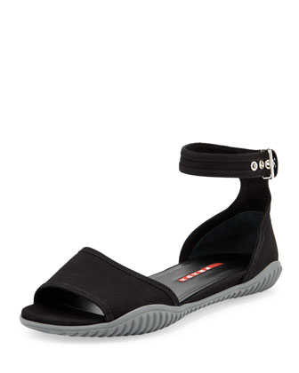 Gabardine Flat Sandal, Black
