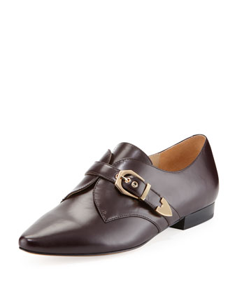Zandra Leather Oxford, Burgundy