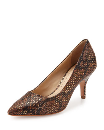 Isa Snakeskin Point-Toe Pump, Bronze