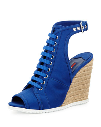 Lace-Up Gabardine Glove Wedge, Bluette