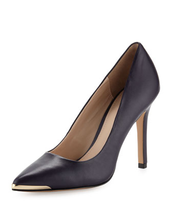 Marcie Metal-Tip Pump, Plum