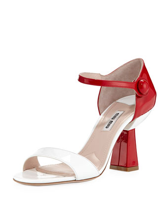 Patent Flared-Heel Sandal, White/Red