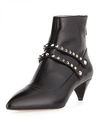 Studded-Strap Low-Heel Bootie
