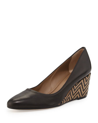 Kelly Chevron-Wedge Pump, Black