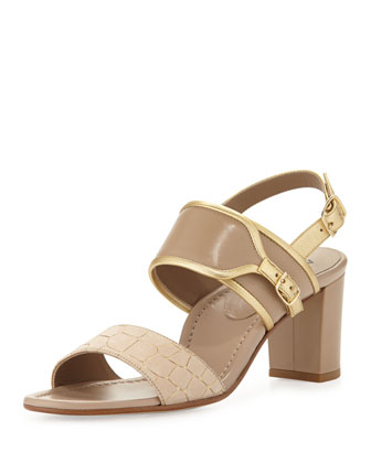 Maria Croc-Embossed Leather Sandal, Bisque