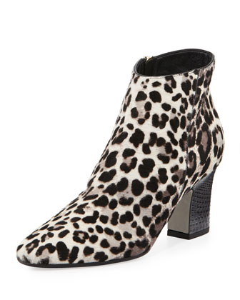 Leopard-Print Mid-Heel Ankle Boot