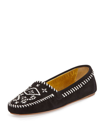 Tribal Stitched Suede Moccasin, Nero