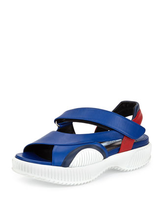Leather Grip-Strap Sandal, Bluette