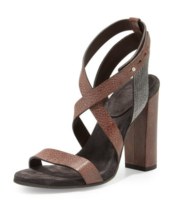 Crisscross Bead-Strap Sandal, Tobacco