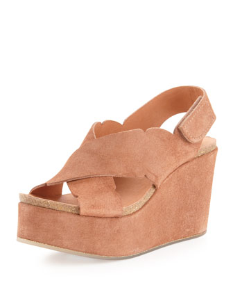 Dafne Crisscross Strap Wedge, Adobe