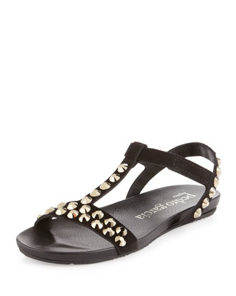Jeril Flat Crystal Sandal, Black