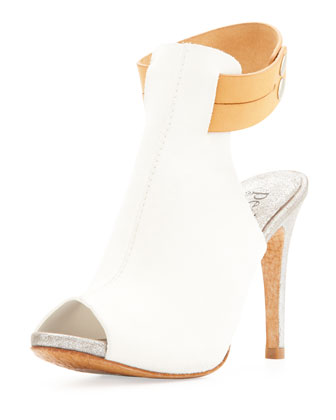 Samantha Peep-Toe Pump, White/Luggage