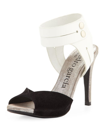 Sheryl Peep-Toe Pump, Black/White