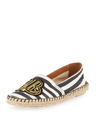 Clubs Striped Canvas Espadrille Flat, Black/White