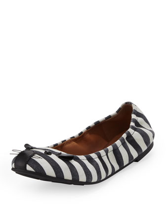 Striped Mouse Scrunch Flat, Black/White