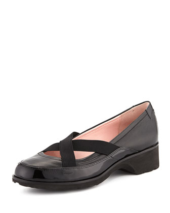 Twila Crisscross Leather Slip-On, Black