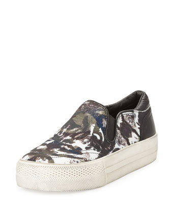 Jungle Blis Camo-Print Slip-On, Black/Cafe