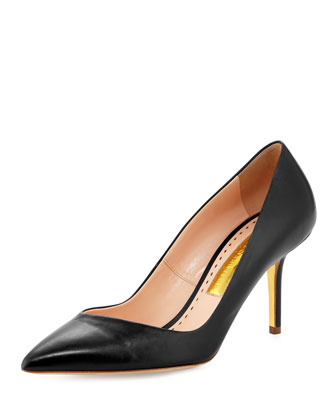 Asymmetric Point-Toe Pump, Black