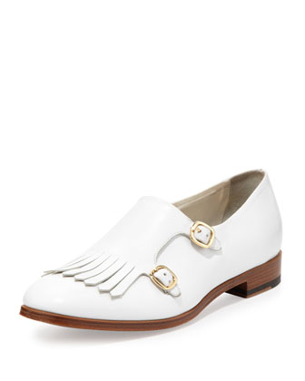 Calfskin Monk Strap Loafer, White