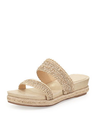 Fresh Double Chain-Strap Sandal, Platinum