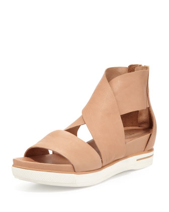Sport Wide-Strap Leather Sandal, Camel