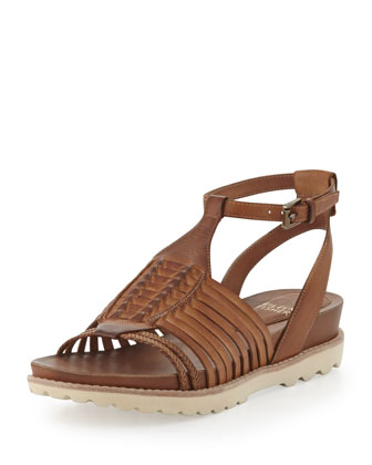 Karma Huarache Leather Sandal, Toffee