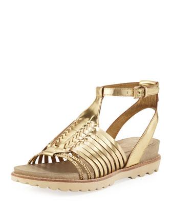 Karma Metallic Huarache Sandal, Golden