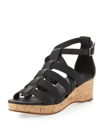 Bevy Stretch-Strap Cork Wedge, Black