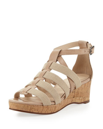 Bevy Canvas-Strap Cork Wedge, Linen