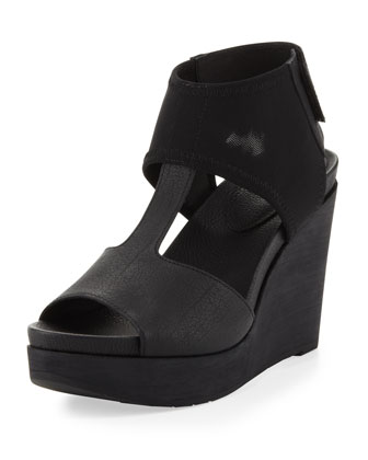 Dote Mesh-Ankle Leather Wedge