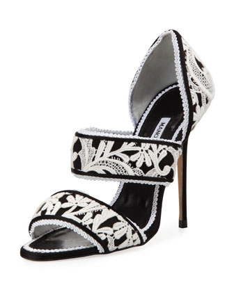 Plusanda Lace Double-Band Sandal, Black/White