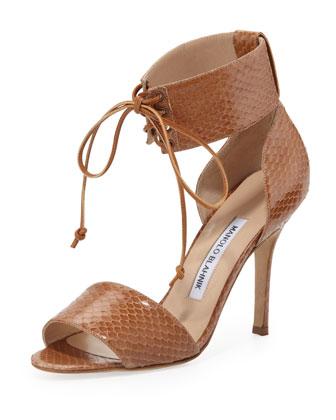 Olli Snake Laced-Cuff Sandal