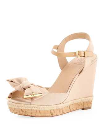Penny Faille Bow Wedge, Camellia Pink