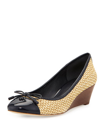 Catherine Cap-Toe Raffia Wedge, Navy