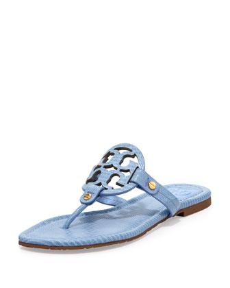 Tory Burch Miller Lizard-Print Logo Thong Sandal, Coast