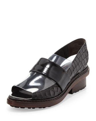 Darwin Peep-Toe Slingback Loafer, Black