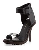Isabela Ankle-Wrap Runway Sandal, Black