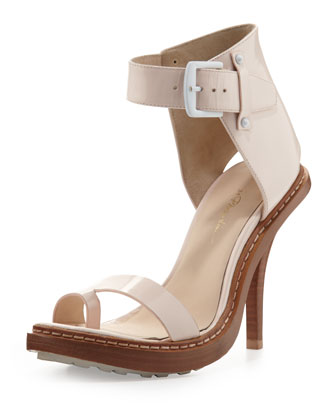 Isabela Ankle-Wrap Sandal, Powder