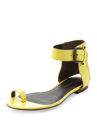 Isabela Ankle-Wrap Sandal, Lemon