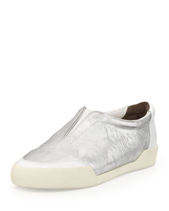 Morgan Metallic Slip-On Sneaker, Silver/White