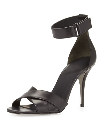 Drielle Leather Ankle-Wrap Sandal, Black