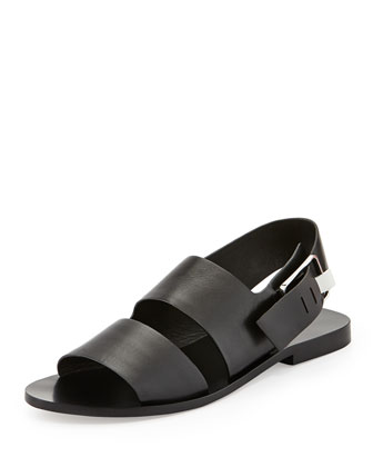 Eva Double-Strap Leather Sandal, Black
